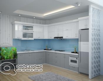 Tủ bếp Acrylic AR 47 Mặt kínhốp xanh dươngtạo cảm giác phóng khoáng, trẻ trung, đồng thời giúp vệ sinh dễ dàng.