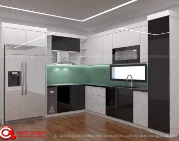 Tủ bếp Acrylic AR 26 Tủ bếp có sự kết tinh tế giữa màu trắng hiện đại với màu nâu sang trọng tạo ra sự hài hòa cho căn bếp của gia đinh.