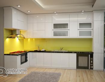 tủ bếp Acrylic AR 34 Mang màu sắc chủ đạo là màu trắng sữa tạo cảm giác trẻ trung, hiện đại.