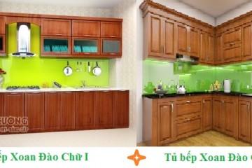 Tủ bếp gỗ Xoan Đào hình chữ L, I cho căn hộ chung cư