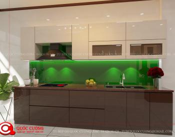 Tủ bếp acrylic AR18 có vẻ đẹp hiện đại của chất liệu Acrylic Quốc Cường đồng thời cũng rất dễ dàng vệ sinh trong quá trình sử dụng.