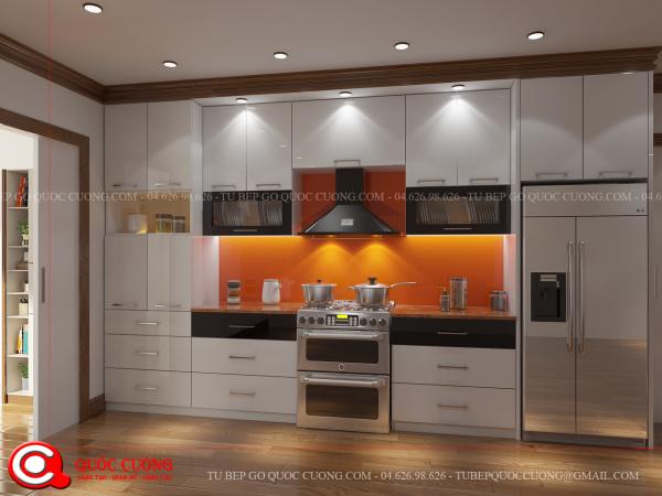 Các phụ kiện trong tủ bếp Acrylic AR 11 là các phụ kiện chính hãng inox nhập khẩu của EuroGold,HAFELE,BLUM CARYNI. Các thiết bị bếp như chậu rửa, bếp từ của các thương hiệu như Malocca, Faster, Abber...BOSS...