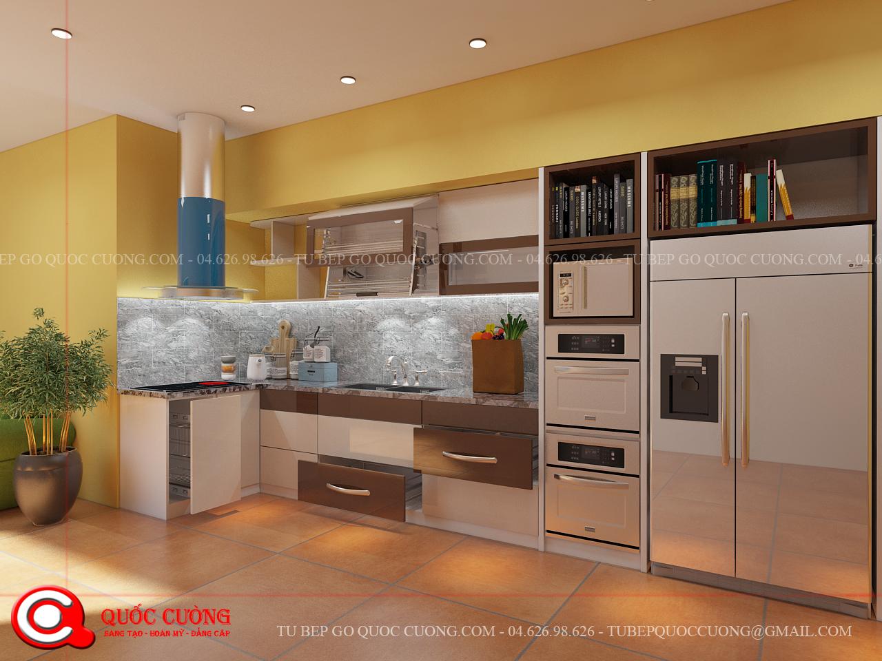 mẫu tủ bếp Acrylic được lựa chọn nhiều nhất năm nay