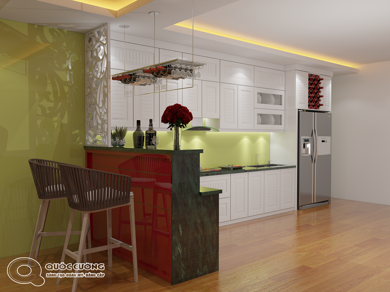 Tủ bếp AR12 có vẻ đẹp hiện đại của chất liệu Acrylic Quốc Cường bóng gương đồng thời cũng rất dễ dàng vệ sinh trong quá trình sử dụng