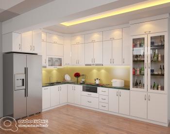 Tủ bếp Acrylic AR15 có vẻ đẹp hiện đại của chất liệu Acrylic bóng gương đồng thời cũng rất dễ dàng vệ sinh trong quá trình sử dụng.