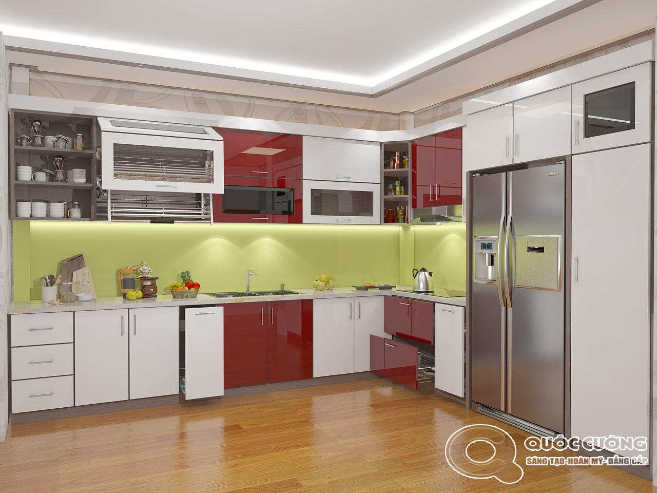 Tủ bếp AR16 có vẻ đẹp hiện đại của chất liệu Acrylic Quốc Cường cũng rất dễ dàng vệ sinh trong quá trình sử dụng.