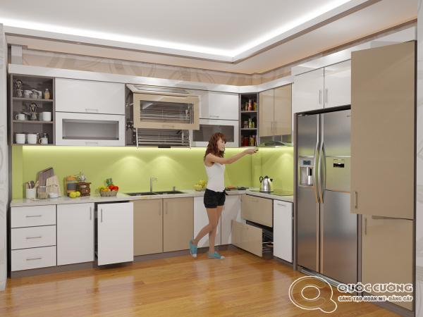 Tủ bếp AR17 có vẻ đẹp hiện đại của AcrylicQuốc Cường bóng gương đồng thời cũng rất dễ dàng vệ sinh trong quá trình sử dụng.