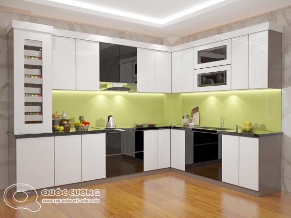 Tủ bếp AR19 có vẻ đẹp hiện đại của chất liệu Acrylic Quốc Cường đồng thời giúp dễ dàng vệ sinh trong quá trình sử dụng.