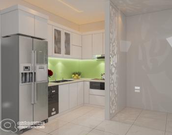 Tủ bếp AR20 có vẻ đẹp hiện đại của chất liệu Acrylic Quốc Cường bóng gương đồng thời cũng rất dễ dàng vệ sinh trong quá trình sử dụng.Có độ bền cao và chịu nước tốt .
