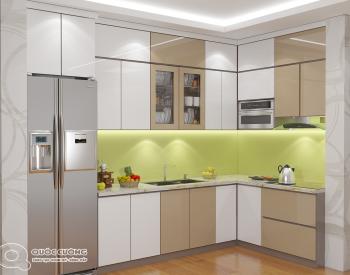 Tủ bếp AR21 có vẻ đẹp hiện đại của chất liệu Acrylic Quốc Cường bóng gương đồng thời cũng rất dễ dàng vệ sinh trong quá trình sử dụng.