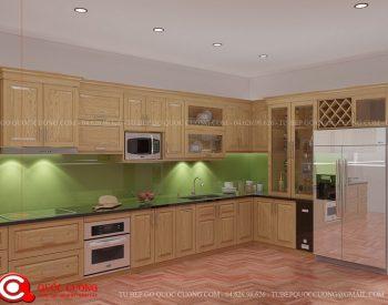 Tủ bếp sồi Nga SN08 cóđộ bền cao, có màu sắc tươi sáng tạo cảm giác tươi mới.