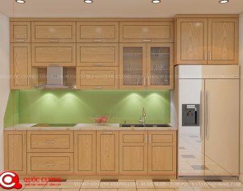 Tủ bếp sồi Nga SN01 cóđộ bền cao, có màu sắc tươi sáng tạo cảm giác tươi mới.