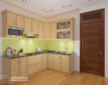 Tủ bếp sồi Nga SN02 cóđộ bền cao, có màu sắc tươi sáng tạo cảm giác tươi mới.