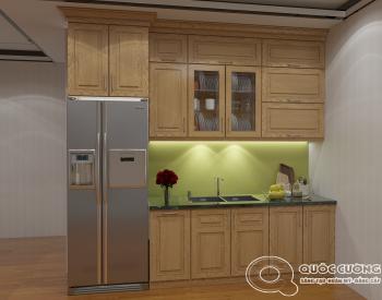Tủ bếp sồi Nga SN03 cóđộ bền cao, có màu sắc tươi sáng tạo cảm giác tươi mới.