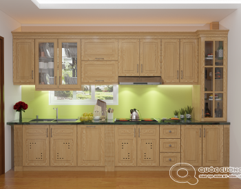 Tủ bếp sồi Nga SN04 cóđộ bền cao, có màu sắc tươi sáng tạo cảm giác tươi mới.