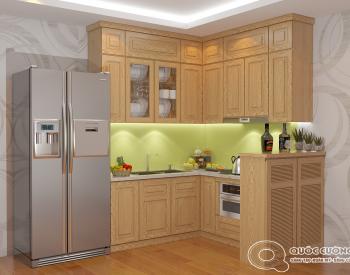 Tủ bếp sồi Nga SN05 cóđộ bền cao, có màu sắc tươi sáng tạo cảm giác tươi mới.