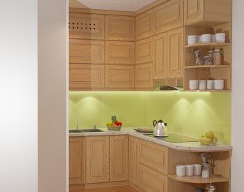 Tủ bếp sồi Nga SN06 cóđộ bền cao, có màu sắc tươi sáng tạo cảm giác tươi mới.