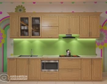 Tủ bếp sồi Nga SN07 cóđộ bền cao, có màu sắc tươi sáng tạo cảm giác tươi mới.
