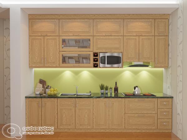 Tủ bếp sồi Nga SN09 cóđộ bền cao, có màu sắc tươi sáng tạo cảm giác tươi mới.