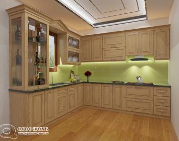 Tủ bếp sồi Nga SN10 cóđộ bền cao, có màu sắc tươi sáng tạo cảm giác tươi mới.