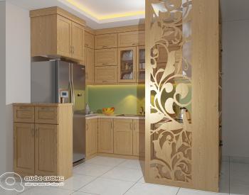 Tủ bếp sồi Nga SN11 cóđộ bền cao, có màu sắc tươi sáng tạo cảm giác tươi mới.