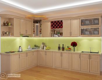 Tủ bếp sồi Nga SN12 cóđộ bền cao, có màu sắc tươi sáng tạo cảm giác tươi mới.