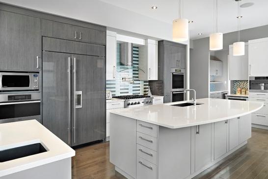 Tủ bếp laminate chữ I cho phòng bếp dài hẹp