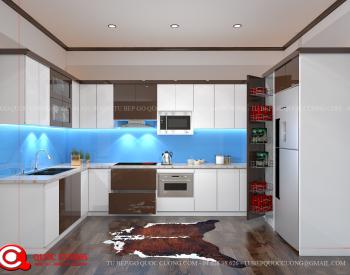 Tủ bếp Laminate Inox 304 - LI11 được Tủ Bếp Quốc Cường thiết kế với kích thước tiêu chuẩn cho tủ bếp trên là 350x750 và tủ bếp dưới là 550x810.