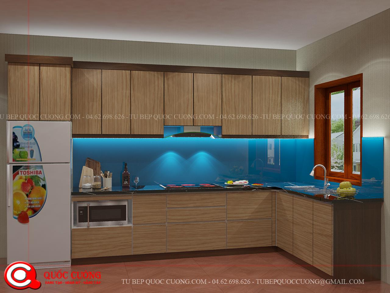 Tủ bếp LI 12sử dụng thùng Inox 304 cho tủ bếp dưới nên cóđộ bền cao, chông nước tốt, không sợ mối mọt.