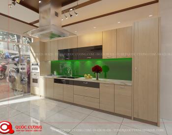 Tủ bếp Laminate Inox 304 - LI 13 được Tủ Bếp Quốc Cường thiết kế với kích thước tiêu chuẩn cho tủ bếp Laminate trên là 350x750 và tủ bếp Laminate dưới là 550x810.
