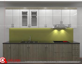 Tủ bếp Laminate Inox 304 - LI 14 đượcTủ Bếp Quốc Cường thiết kế với kích thước tiêu chuẩn cho tủ bếp trên là 350x750 và tủ bếp dưới là 550x810.