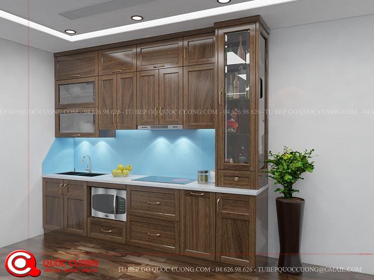 Tủ bếp gỗ óc chó OC09 kết hợp hài hòa giữa phụ kiện chức năng với thiết bị bếp. Các sản phẩm này đều được nhập khẩu từ các thương hiệu như Molocca, Abber, Hafele, Blum, …