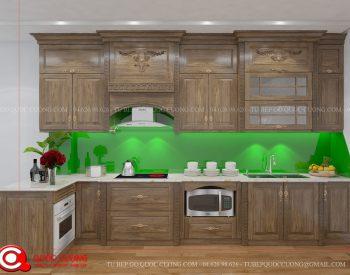 Tủ bếp TCD09 gồm các phụ kiện chức năng như đèn led chiếu sáng, kệ gia vị, trạn bát, thùng gạo và thiết bị bếp như lò vi sóng, thiết bị hút mùi, bếp từ đều được nhập khẩu từ các thương hiệu Faster, EuroGold, Hafele, Blum, Malocca, …
