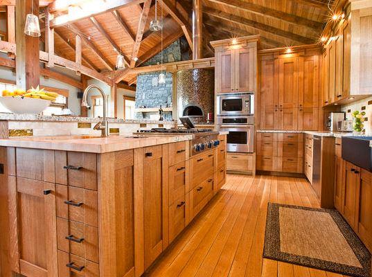 Tủ bếp gỗ sồi Nga phong cách tân cổ điển 1