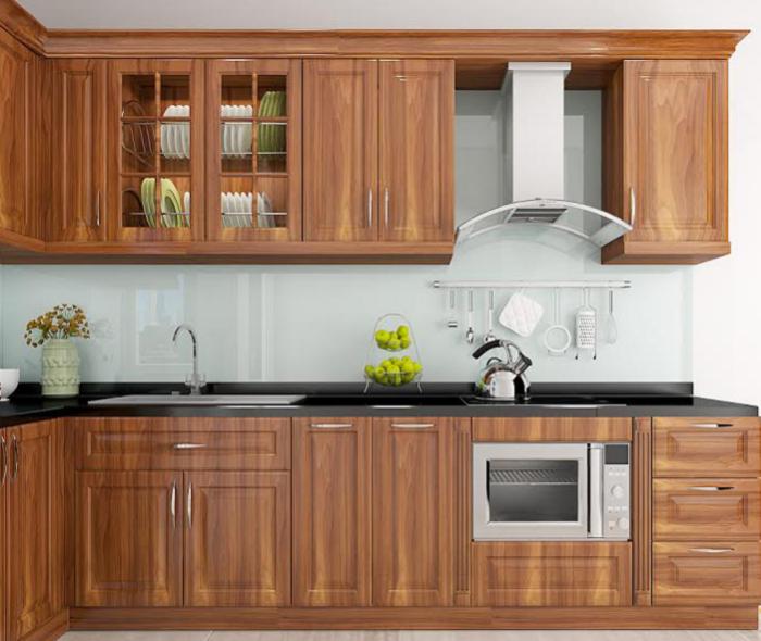 Tủ bếp gỗ Lát với đường vân gỗ đẹp, thớ gỗ mịn với ánh hồng đặc trưng rất ấn tượng