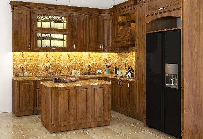 Sự kết hợp hài hòa giữa thiết kế tủ bếp với trang thiết bị tiện nghi, hiện đại