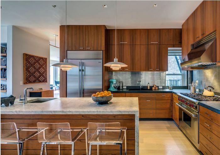 Thiết kế tủ bếp chữ l kết hợp bàn đảo tạo tính tiện nghi, thuận lợi hơn cho người nội trợ nấu nướng thức ăn