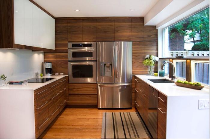 Kiểu dáng chữ U giúp tủ bếp gỗ óc chó tiết kiệm tối đa không gian bếp của gia đình