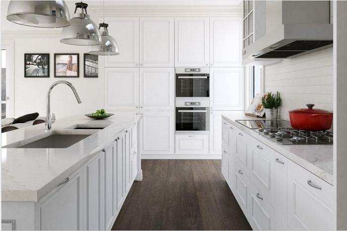 Mẫu tủ bếp gỗ sồi Nga màu trắng ấn tượng và thanh lịch