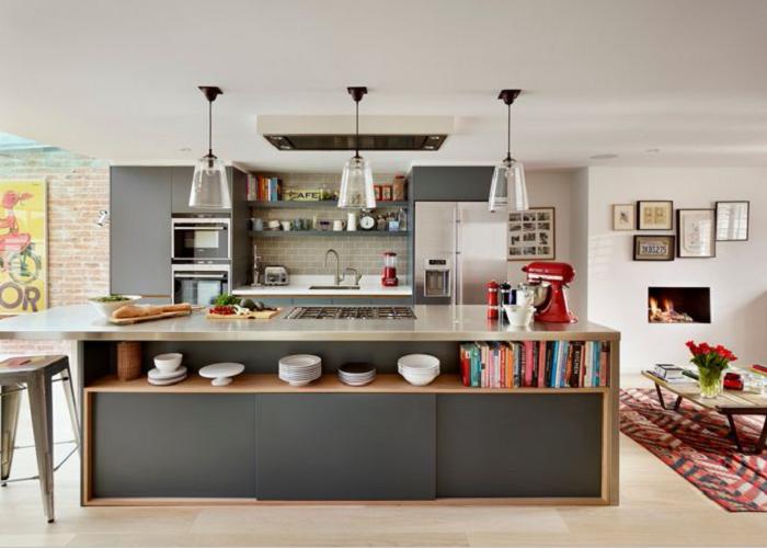 Mẫu tủ bếp gỗ MFC kiểu dáng chữ I giúp tiết kiệm diện tích căn phòng