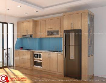 Tủ bếp gỗ MFC An Cường – MFCAC01 là mẫu tủ bếp gỗ công nghiệp cao cấp thân thiện với môi trường và tạo cảm giác gần gũi với thiên nhiên cho người dùng.