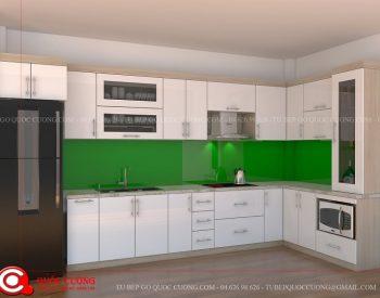 Tủ bếp gỗ MFC An Cường – MFCAC03 là mẫu tủ bếp gỗ công nghiệp cao cấp thân thiện với môi trường và an toàn với người sử dụng.