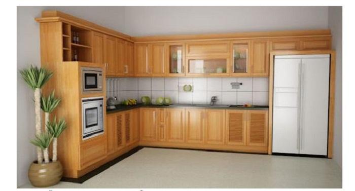 Mẫu tủ bếp gỗ mfc kiểu chữ L căn bếp lý tưởng cho bà nội trợ