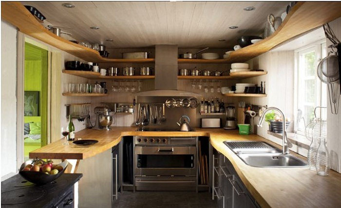 Thiết kế tủ bếp gỗ acrylic có quầy bar dành cho nhà bếp rộng