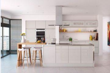 Tủ bếp gỗ acrylic màu trắng sáng đẹp sang trọng