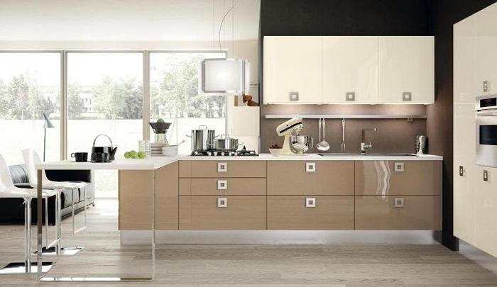 Tủ bếp gỗ công nghiệp acrylic thiết kế cho nhà sân vườn