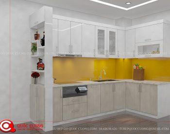 Tủ bếp gỗ MFC An Cường – MFCAC09 là mẫu tủ bếp gỗ công nghiệp cao cấp thân thiện với môi trường và an toàn với người dùng khi nấu nướng món ăn.