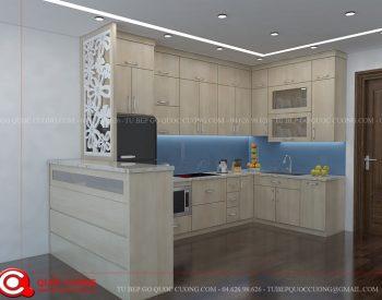 Tủ bếp gỗ MFCAC11 có các phụ kiện chức năng gồm chậu rửa, đèn led chiếu sáng, trạn bát, giá inox đa năng và các thiết bị bếp như bếp từ, máy hút mùi, lò nướng đều nhập khẩu từ các thương hiệu nổi tiếng như Faster, Hafele, Malocca, EuroGold, Blum...