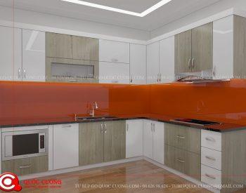 Tủ bếp MFCML03 có thiết bị bếp và các phụ kiện chức năng như máy hút mùi, bếp từ chậu rửa đều được nhập khẩu từ các thương hiệu như EuroGold, Faster, Abber, Hafele, Blum.