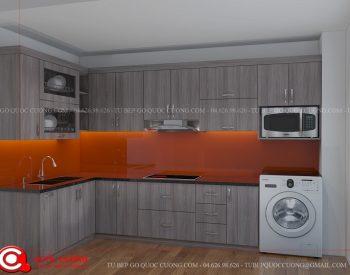 Tủ bếp MFCML04 có các phụ kiện chức năng và thiết bị bếp máy hút mùi, bếp từ, lò nướng, chậu rửa, trạn bát đều được nhập khẩu từ các thương hiệu như Hafele, Blum, EuroGold, Faster, Abber.